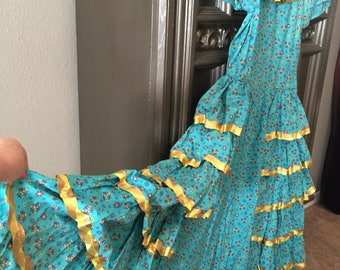 50s Tiered Turquoise Cotton Print Dress