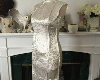 50s Silver Satin Cheongsam Dress