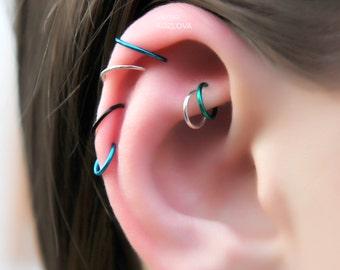 7mm/ 9mm/ 10mm No Piercing Cuff Ring/ fake falske piercing/piercing imitation/knorpel falsch nasenring/false lip ring/faux nez nose piercing