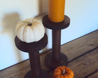 "Wooden Spool Candle Holders - Set of Two 10"" Pillar Candle Stands - Rustic Chic Farmhouse Decor - Minimalist Pillar Holders - Primitive Home"