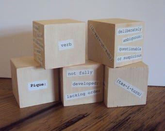 Writer's Blocks - Minimalist Dorm Decor - Teacher/Writer Gift - College Study Aid - School & Office Desk Decor - Writing Gift - Word Blocks