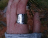 Sterling Silver Layered Fern Ring. Sturdy Open Wrap Ring. Wide, Layered, Darkened Nature Inspired Botanical Size 10.5 Ring