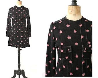 60s MOD WINTER DRESS pink apples / long sleeves / medium
