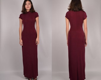 90's Bergundy Bodycon Maxi Dress