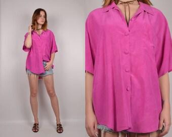 Vintage Pink Silk Overized Shirt