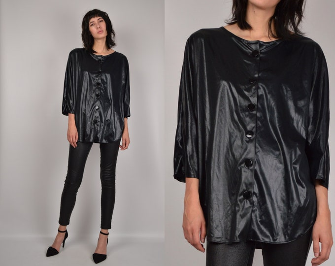 Oversized Black Shiny Shirt vintage