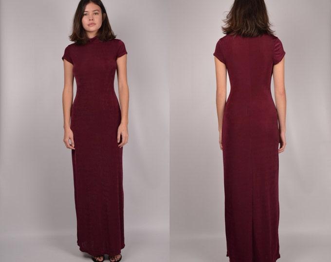90's Bergundy Bodycon Maxi Dress