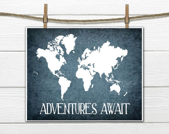 World Map Print -  Adventure Awaits  - INSTANT Download PDF 8x10