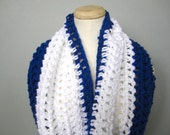 Crochet Royal Blue and White Toronto Maple Leafs, Tampa Bay Lightning, Indianapolis Team Colors Cowl Infinity Scarf, Unisex Scarf