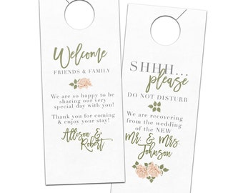 Wedding door hanger vintage flower roses with modern calligraphy hotel guest for welcome bags  - bridal do not disturb privacy door sign