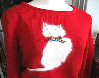 White Angora Cat Sweater, Red Pullover Jumper with Kitty Feline Image, Vintage Susan Bristol, Cotton Acrylic Size Medium, Cat Lover Gift