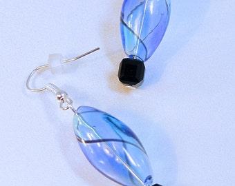 Hand Blown Blue & Black Earrings