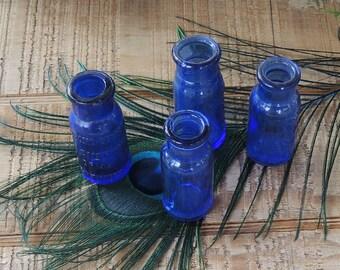 Vintage Blue Bottles Bromo Seltzer Set of 4, Wedding Vases, Apothecary Cobalt Blue, Hand Dug Hand Blown Glass