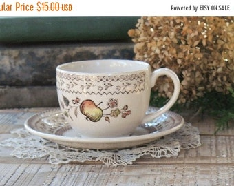 Johnson Brothers Fruit Sampler Flat Tea Cup and Saucer Set, Vintage Farmhouse Dishes, Wedding, Brown Transferware China