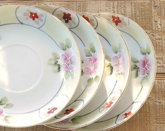 Nippon Hand Painted Saucers Set of 4, Antique Small Japanese Porcelain Plates, Made in Japan Ca. 1930-1940's