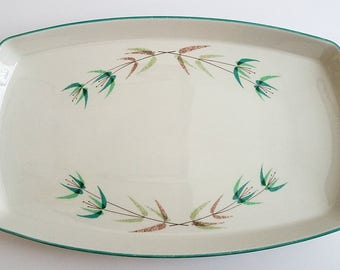 Vintage Gladding McBean Franciscan Radiance Rectangular Platter White Teal Scandanavian Floral Vine Pattern, Table Setting Serving Piece
