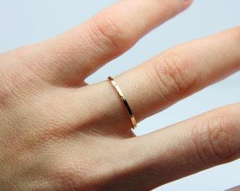 9K Gold wedding band - Skinny gold band - Wedding yellow gold band -hammered gold wedding ring - delicate wedding band - golden wedding band