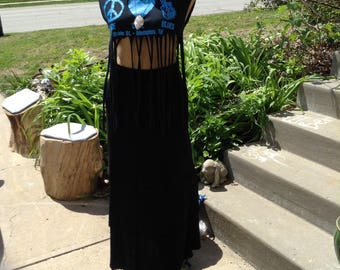 Vintage hipster 70s bohemian prairie black layered skirt with lace trim size medium free domestic shipping Stevie Nicks style