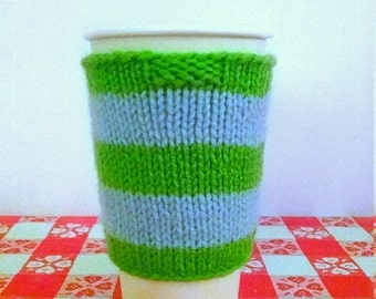Green and Blue Striped Coffee Cozy, Green Coffee Sleeve