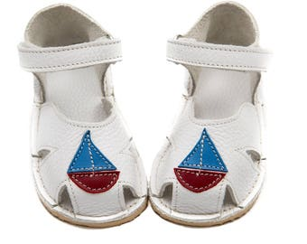White Toddler Leather Sandals for boys, Vibram sole, support barefoot walking, sizes EU 16 to 24 - US 2 to 7.5