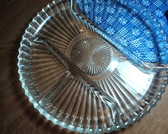 Clear glass Fostoria divided plate