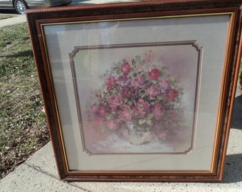 Large picture of rose bouquet in glass vase framed in wood and under glass