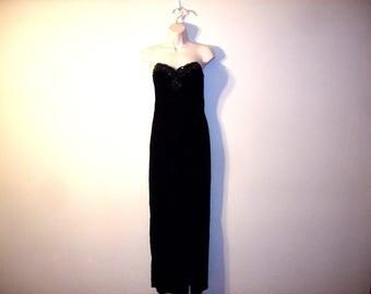 Vintage 1990s Black Strapless Velvet Gown, Size Small