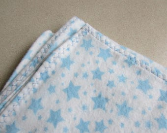 Blue stars, Large flannel receiving blanket, swaddling blanket, super soft, baby blanket for a baby boy, reusable gift wrap
