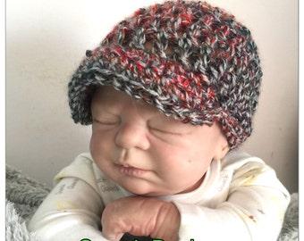Baby Boy 0-3 months newsboy baseball cap crochet knitted hippie beanie unique visor peak sale kids newborn hats shower gift photo prop reds