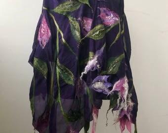 "Nuno felted scarf ""Аutumn flowers"""