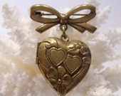 Brass Heart Locket Brooch C Clasp Valentine Pin