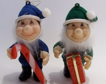 Dwarf Elf Christmas Tree Ornaments Group of Two Mid Century Vintage
