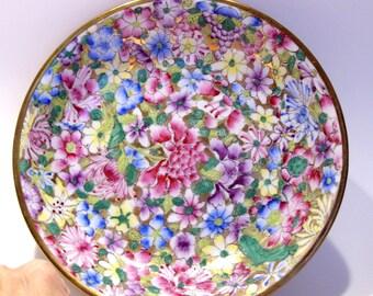 Japanese Porcelain Ware Floral Enameled Bowl Encased in Brass Decorated in Hong Kong