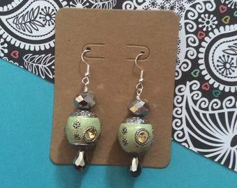 Mint green, yellow, metallic, India inspired, Bollywood inspired dangle earring