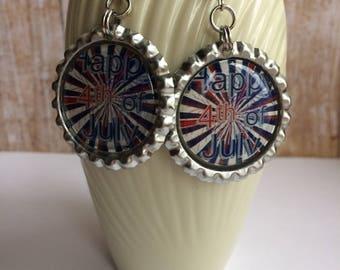 Flag Earrings, USA Flag Earrings, 4th of July Earrings, Red White Blue Earrings, Americana Earrings, USA Flag Accessory, Fireworks Accessory