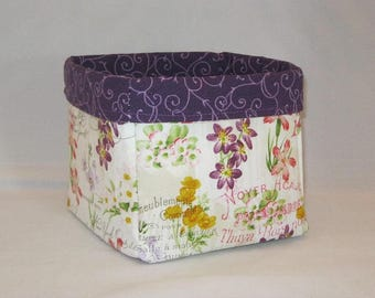 Purple And Floral Fabric Basket For Storage Or Gift Giving