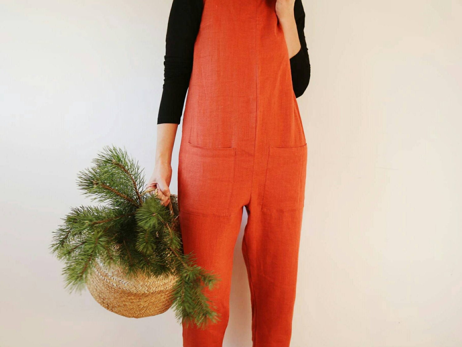 linen jumpsuit burnt orange linen jumpsuit linen overall
