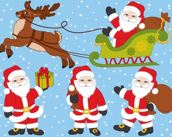 50% OFF SALE Santa Claus Clipart - Digital Vector Santa, Deer, Claus, Sledge, Xmas Santa Clip Art