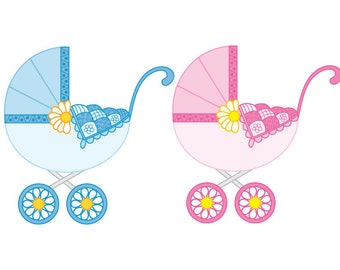 Baby Stroller Clipart - Digital Vector Stroller, Baby Boy Stroller, Baby Girl Stroller, Stroller Clip Art for Personal and