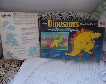 Vintage Stand Up Puzzle, Vintage Puzzle, Dinosaurs Puzzle, When Dinosaurs Ruled the Earth Stand Up Puzzle, Vintage Game, Vintage Puzzles, 87