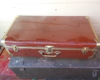 Tin Metal Vintage Suitcase, Vintage Suit Case, Vintage Tin Luggage, Vintage Luggage's, Storage, Organization, Dog Bed, Vintage Home Decor,