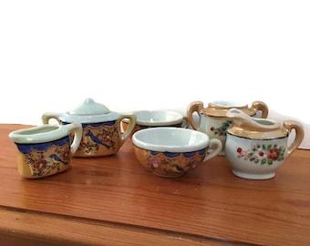 Vintage Dolls Teaset, Lusterware Miniature Teaset, Dolls teaset, Vintage Dollhouse Dishes