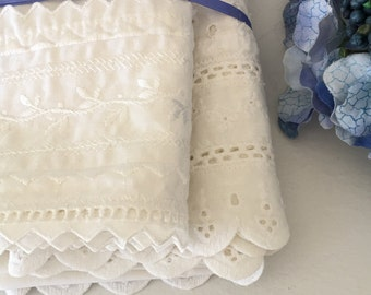White Cotton Pillow Case Covers Eyelet and Lace Mismatched Set of 2 Standard Size Country Cottage