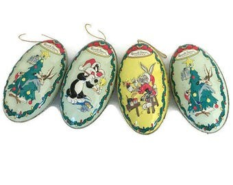 Vintage Looney Tunes Russell Stover Christmas Ornaments Candy Boxes