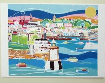 Papercut art print Guernsey harbour town landscape
