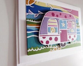 Papercut art pink caravan by the seaside 3D blank greetings card