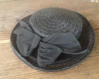 French Black Straw Raffia Hat, Black Ribbon and Bow