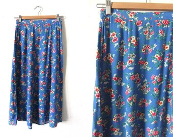 Floral Print A Line Skirt - Pastel 90s Ditsy Flower Print Bright Blue Flowy Skirt - Womens Small