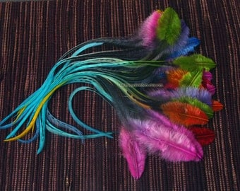 Bright Colorful Craft Feathers Rooster Saddle Feathers Colorful Feathers for Crafts Earring Feathers Matched Pairs - 20