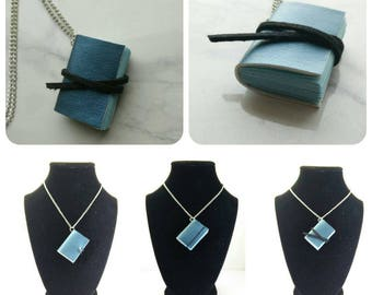 Hogwarts inspired pleather  Ravenclaw mini book necklace